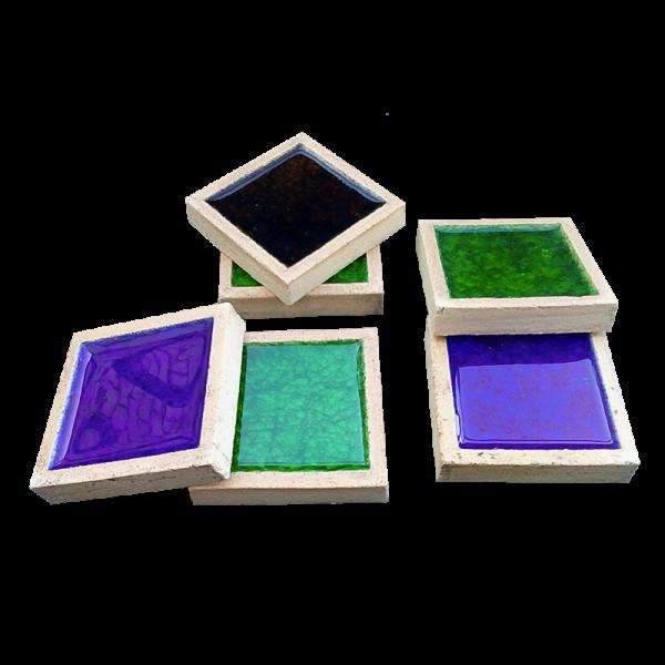 Шамотная плитка со стеклом-6