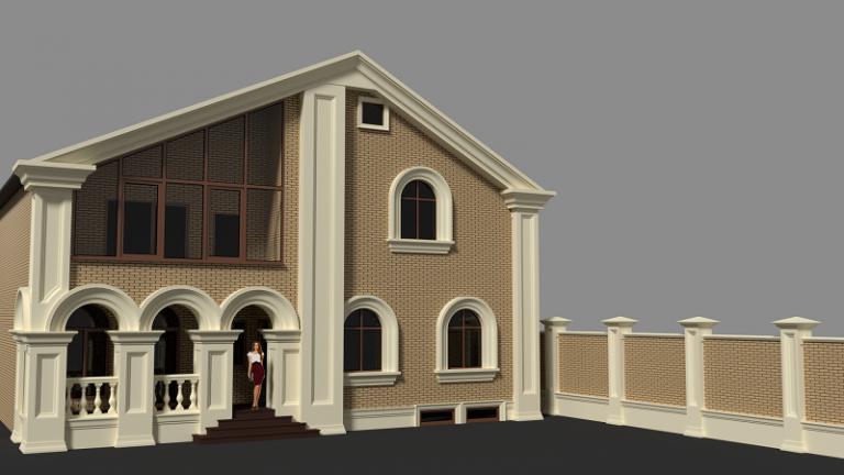 Фасад дома (отделка стен шамотом) 10
