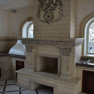 Печной комплекс с декором интерьера