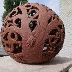 """Терракотовый садовый шар """"Дерево""""-3"""