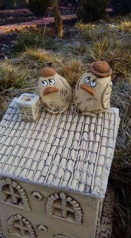 Керамические фигурки для сада Птички (парочка) 1
